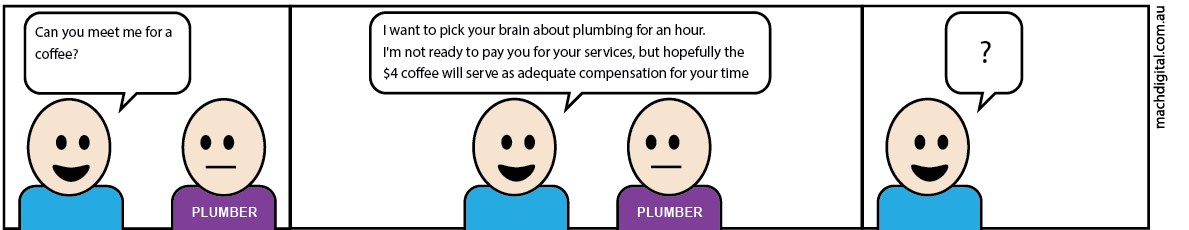 Comic strip 2 - If Plumbers Had to Work Like Digital Marketers