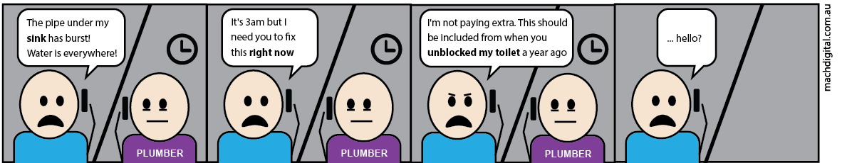 Comic strip 7 -If Plumbers Had to Work Like Digital Marketers