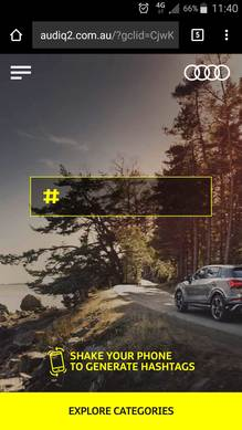 Audi mobile site with hashtag generator