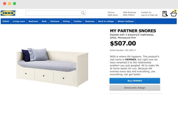 Ikea screenshot product - My Partner Snores