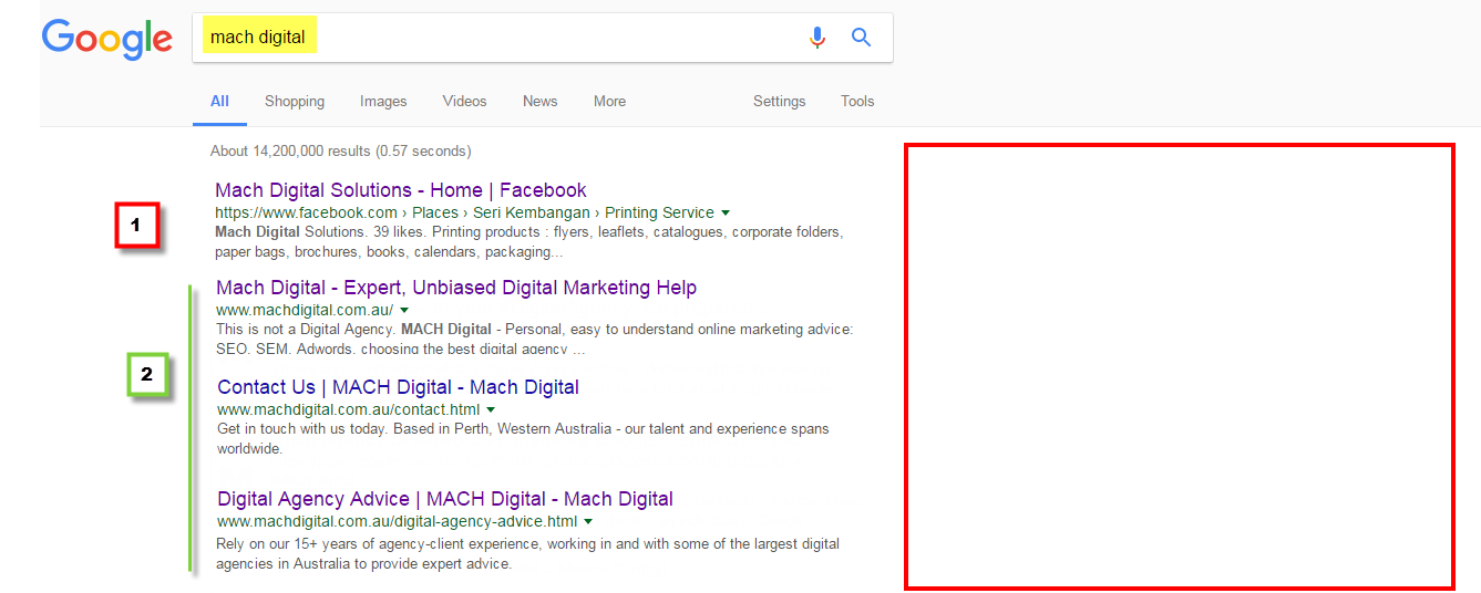 SERP screen shot 1 - Googled 'mach digital'