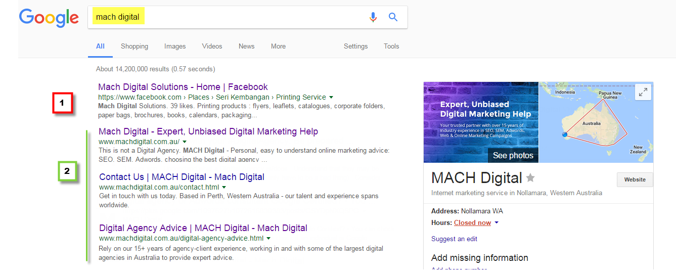 SERP screen shot 2 - Googled 'mach digital' with map listing