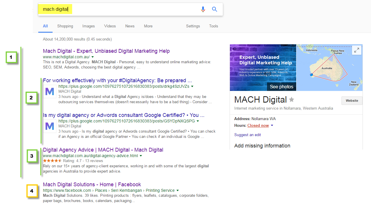 SERP screen shot 3 - Googled 'mach digital' with schema showing