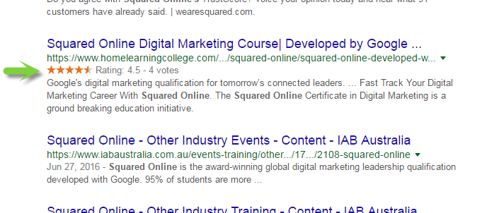 Screen shot - Structured review markup appearing in Google SERP